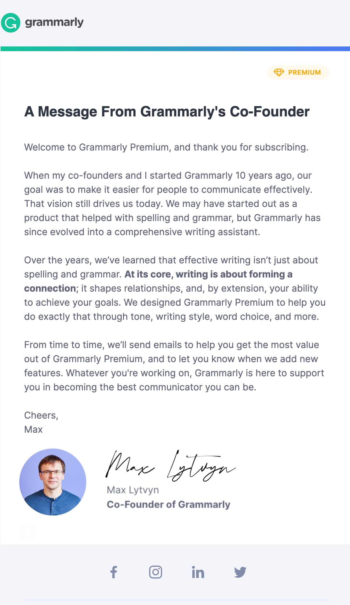 grammarly message from founder